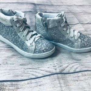 Justice Shoes - EUC Justice Glitter Hi-Top Sneakers Girls sz13